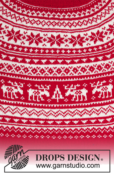 Season Greetings / DROPS 183-5 - Knitted Christmas jumper with round yoke and multi-coloured Nordic pattern, worked top down. Sizes S - XXXL The piece is worked in DROPS Karisma.