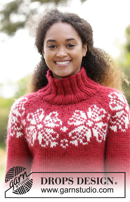 Julerose / DROPS 183-6 - Knitted jumper with round yoke, high neck and multi-coloured Nordic pattern, worked top down. Sizes S-XXXL. The piece is worked in DROPS Eskimo.