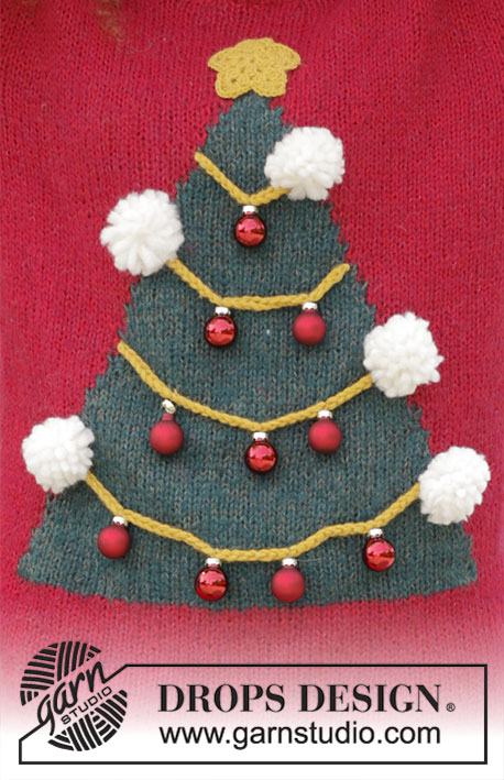 How To Be A Christmas Tree / DROPS 183-8 - Knitted sweater with Christmas tree, crocheted star and pompoms. Size: S - XXXL