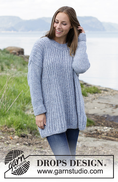 Feeling Serene / DROPS 184-1 - Knitted jumper with false English rib. Size: S - XXXL Piece is knitted in DROPS Air.