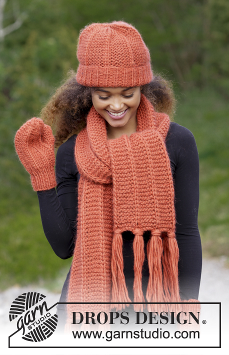 Tangerine / DROPS 184-16 - Set consists of: Knitted scarf, hat and mittens with false English rib and garter stitch. 