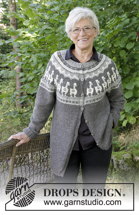 Andean Caravan Jacket / DROPS 184-19 - The set consists of: Knitted jacket with round yoke, multi-coloured pattern and A-shape, worked top down. Sizes S - XXXL. Hat with multi-coloured pattern.