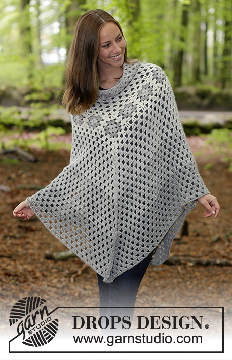 Hygge / DROPS 184-23 - Crocheted poncho with granny squares and treble crochet groups. Size: S - XXXL Piece is crocheted in 2 strands DROPS Alpaca.