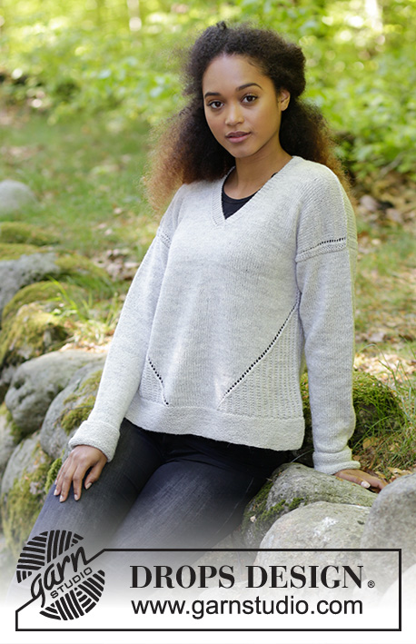 Morven / DROPS 184-28 - Knitted sweater with V-neck, texture and lace pattern. Size: S - XXXL