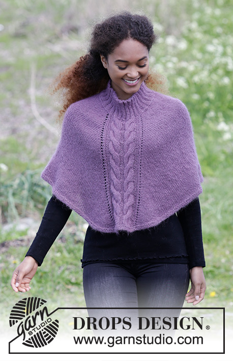 Elizabeth / DROPS 184-29 - Knitted poncho with cables and rib in neck, worked top down. Sizes S - XXXL.