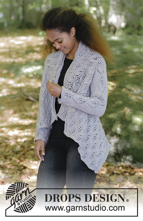 Don't Leaf Me Behind / DROPS 184-32 - Knitted square jacket with lace pattern. Sizes S - XXXL. The piece is worked in DROPS Cotton Merino.