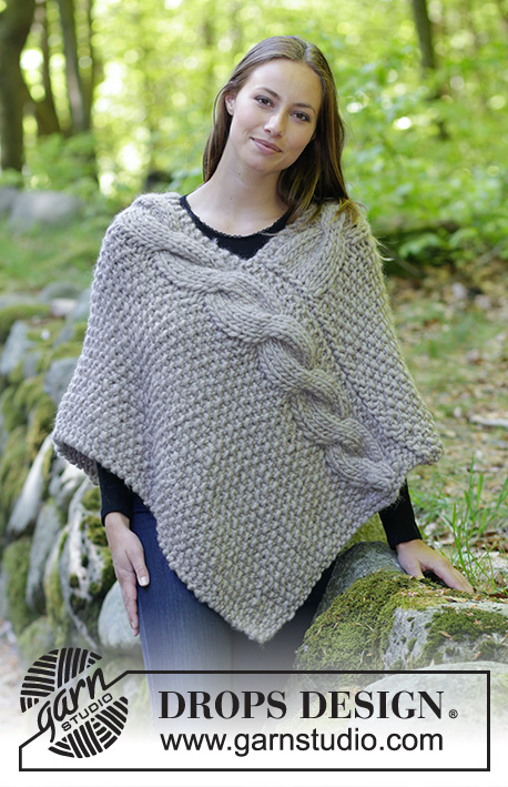 Noelia Poncho / DROPS 184-34 - Free knitting patterns by DROPS Design