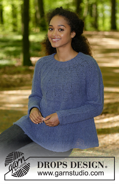 Fleur de Lavande / DROPS 184-4 - Knitted jumper with round yoke, rib and A-shape, worked top down. Sizes S - XXXL.