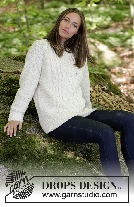 Polar Days / DROPS 184-7 - Knitted jumper with cables and raglan. Sizes S - XXXL. The piece is worked in DROPS Karisma.