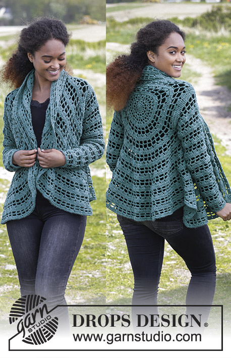 Ornella / DROPS 184-9 - Crochet circle jacket with treble crochets and chain-spaces. Sizes S - XXXL.