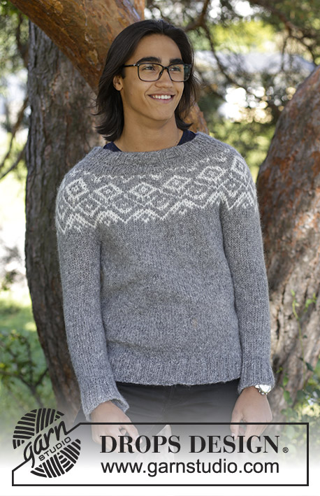 Ashbury Park / DROPS 185-12 - Men's knitted jumper with round yoke and multi-coloured Nordic pattern, worked top down. Sizes S - XXXL.