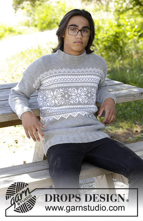 Vintermys / DROPS 185-13 - Men's knitted jumper with multi-coloured Nordic pattern. Sizes S - XXXL.