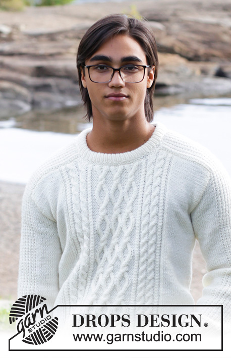 Siberia / DROPS 185-2 - Men's knitted sweater with cables. Sizes 13/14 years – XXXL. 