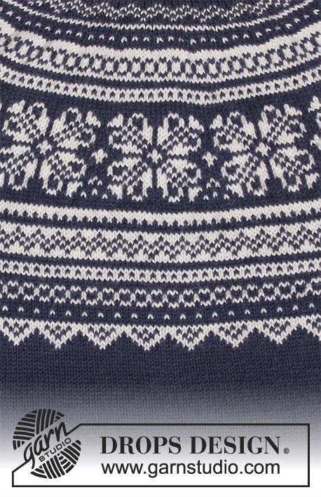 Lofoten / DROPS 185-3 - Men's knitted sweater with round yoke and multi-colored Nordic pattern, worked top down. Sizes S - XXXL.