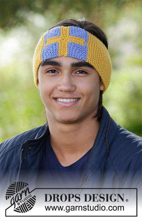 Heia! / DROPS 185-31 - Men's knitted head band in garter stitch with flag in domino squares. The piece is worked in DROPS Nepal.