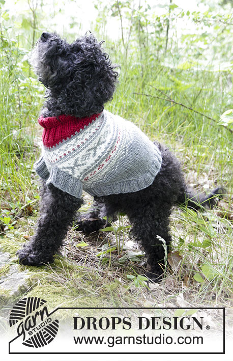 Narvik Woof / DROPS 185-34 - Dog's knitted jumper with multi-coloured Nordic pattern. Sizes XS - M. The piece is worked in DROPS Merino Extra Fine.