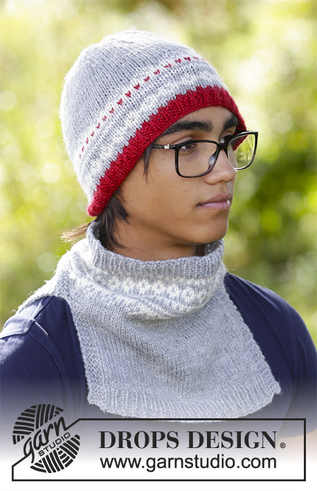 Narvik Set / DROPS 185-7 - The set consists of: Men's knitted hat and neck warmer with multi-coloured Nordic pattern.