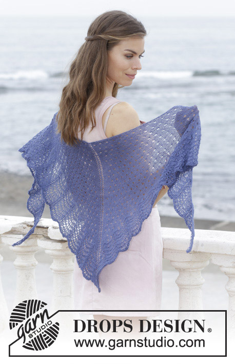 High Tide / DROPS 186-26 - Knitted shawl with lace and wave pattern. The piece is worked top down in DROPS Lace.
