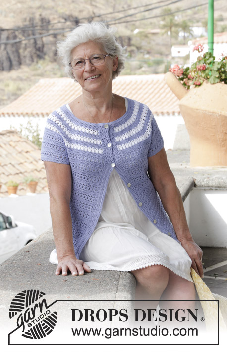 Meet Me in Provence / DROPS 186-27 - Jacket with short sleeves, lace pattern and stripes, crocheted top down. Size: S - XXXL Piece is crocheted in DROPS BabyMerino.
