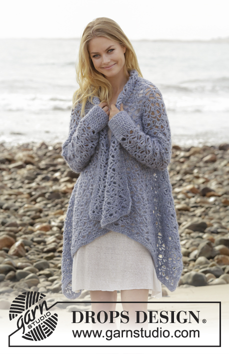 Kyliena / DROPS 186-33 - Crocheted jacket with lace pattern. Sizes S - XXXL. The piece is worked in DROPS Air.