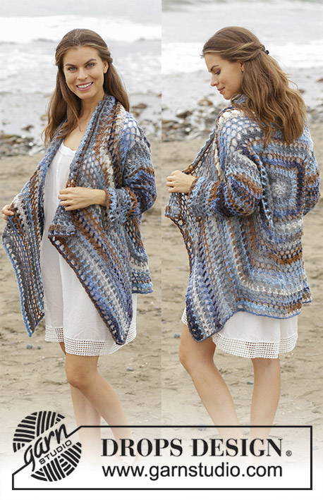 Pacific Best / DROPS 186-36 - Crocheted square jacket with lace pattern. Sizes S - XXXL. The piece is worked in DROPS Big Delight.