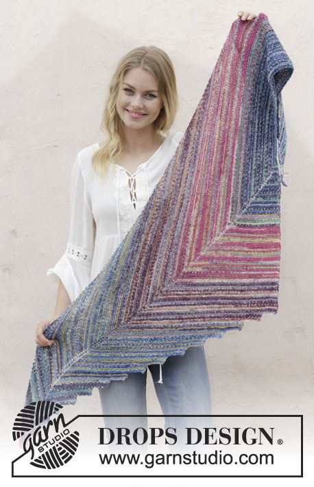 Point the Way / DROPS 186-4 - Knitted shawl with garter stitch and stripes. The piece is worked in DROPS Fabel.