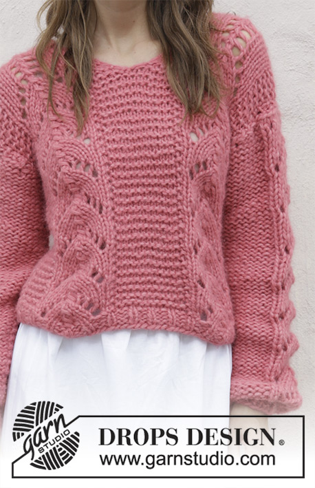 f96e4f87050d Spring Peach by DROPS Design. Knitted sweater with V-neck and lace pattern.  Sizes S - XXXL. The piece is worked in 2 strands DROPS Air.