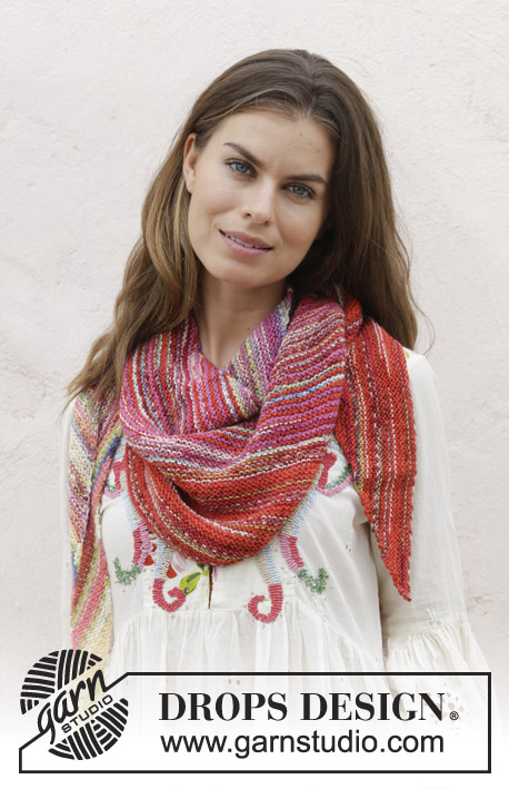 Rio / DROPS 187-15 - Knitted shawl with garter stitch. The piece is worked in DROPS Fabel.