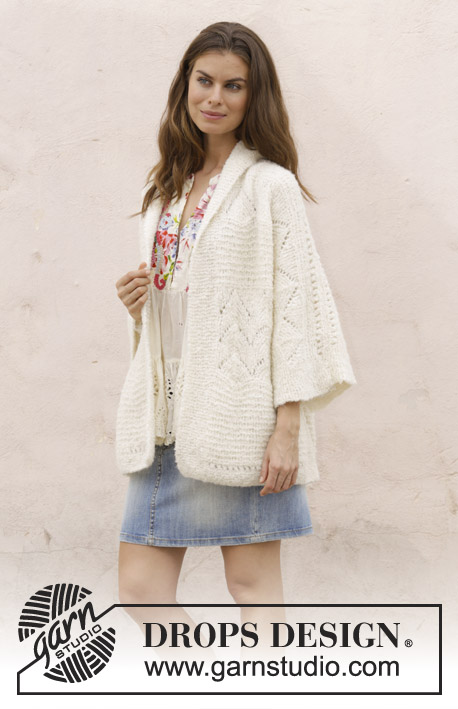 Summer's End / DROPS 187-19 - Knitted jacket with lace pattern. Sizes S - XXXL. The piece is worked in DROPS Alpaca Bouclé.
