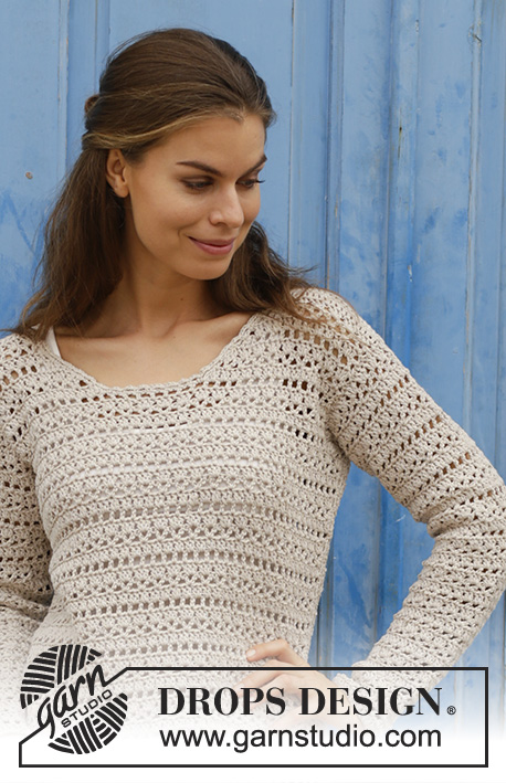Miles Away / DROPS 187-2 - Crocheted jumper with lace pattern. Sizes S - XXXL. The piece is worked in DROPS Cotton Light.