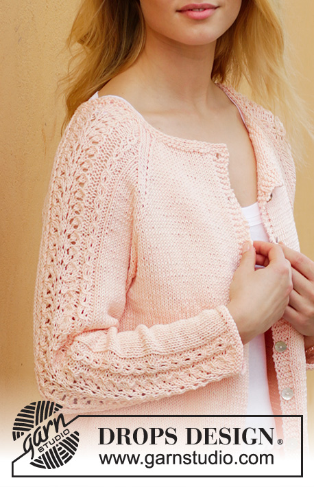 Early May / DROPS 187-21 - Knitted jacket with lace pattern and raglan. Sizes S - XXXL. The piece is worked in DROPS Muskat.