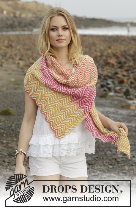 Sunrise Hues / DROPS 187-26 - Knitted shawl with zigzag pattern and stripes. The piece is worked in DROPS Alpaca.