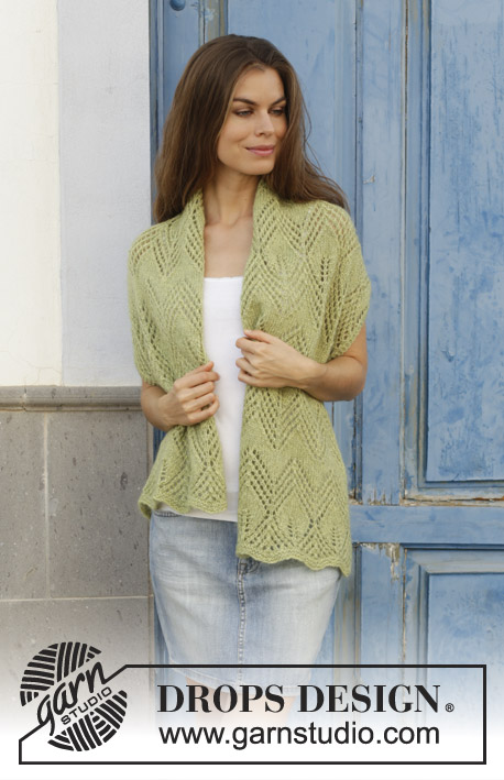 Kalamua / DROPS 187-34 - Knitted stole with lace pattern. Piece is knitted in DROPS Alpaca and DROPS Kid-Silk.
