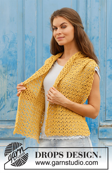 Golden Hug / DROPS 187-36 - Crocheted stole with lace pattern. Piece is crocheted in DROPS Merino Extra Fine.