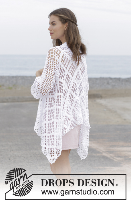 White Shore / DROPS 187-7 - Crochet jacket with lace pattern, worked in a square from mid back outwards. Sizes S - XXXL. The piece is worked in DROPS Belle.