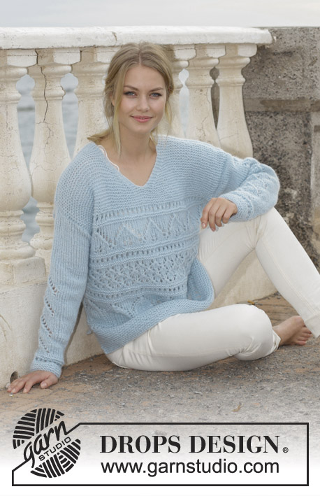 Matelot / DROPS 188-21 - Knitted sweater with lace pattern, garter stitch, V-neck and split in sides. Sizes S - XXXL. The piece is worked in DROPS Air.