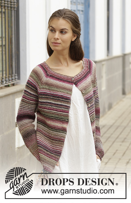 Cecina / DROPS 188-25 - Knitted jacket with garter stitch and raglan, worked top down. Sizes S - XXXL. The piece is worked in DROPS Delight.