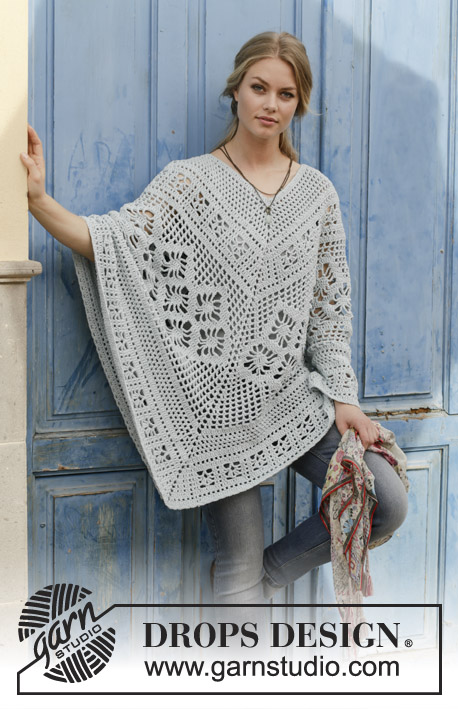 Cressida / DROPS 188-27 - Crocheted poncho with lace pattern, worked top down. Size: S - XXXL Piece is crocheted in DROPS Paris.
