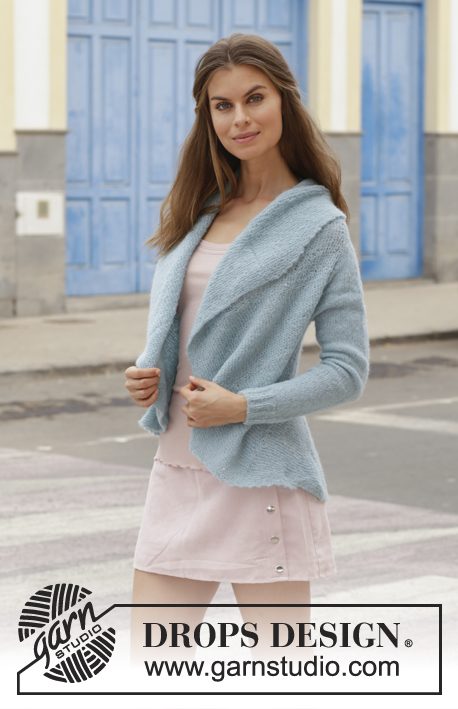Marea / DROPS 188-35 - Knitted jacket worked in a circle with garter stitch. Size: S - XXXL Piece is knitted in DROPS Brushed Alpaca Silk.