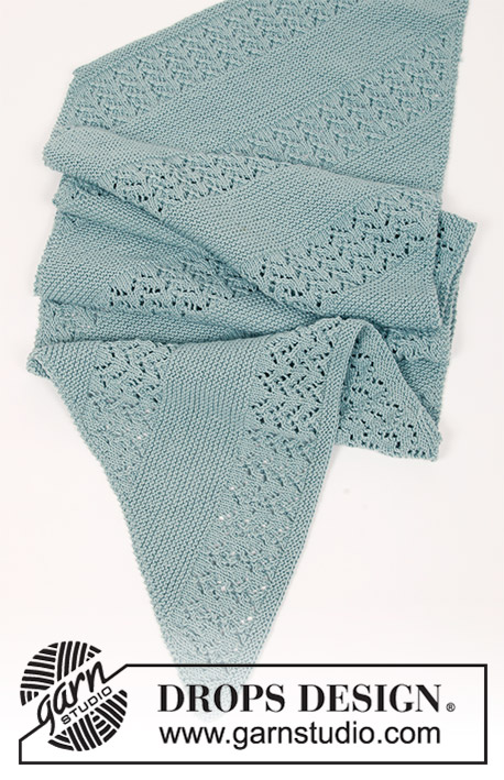 Diandra / DROPS 188-39 - Knitted stole with garter stitch and diagonal lace pattern. The piece is worked in DROPS Cotton Merino or DROPS Sky.
