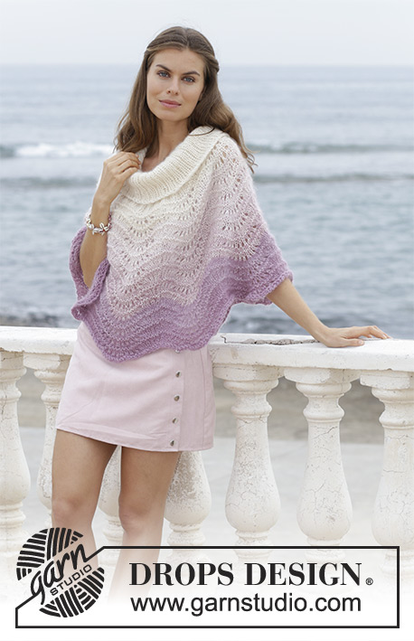 Lavender Wash / DROPS 188-40 - Poncho with wave pattern, worked top down. Sizes S - XXXL. The piece is worked in 1 strand DROPS BabyAlpaca Silk and 2 strands DROPS Kid-Silk.