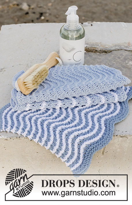 Fresh Wave / DROPS 189-13 - Knitted cloths with wave pattern and stripes. The piece is worked in DROPS Paris.