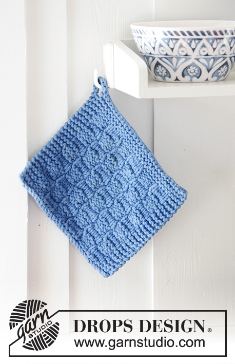 Cefalu / DROPS 189-17 - Knitted potholder with textured pattern. The piece is worked in 2 strands DROPS Paris.