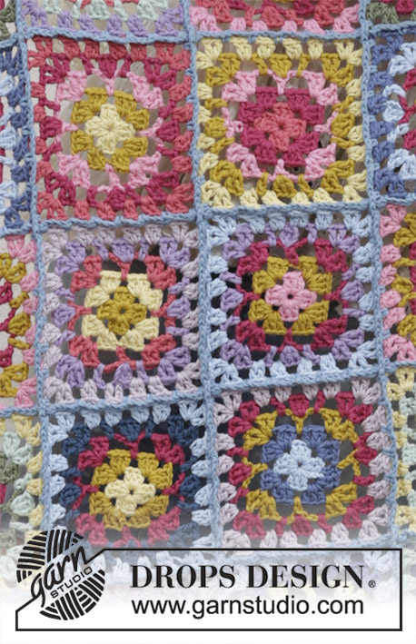 Sandy's Love / DROPS 189-2 - Crocheted blanket with granny squares. Piece is crocheted in DROPS Paris.