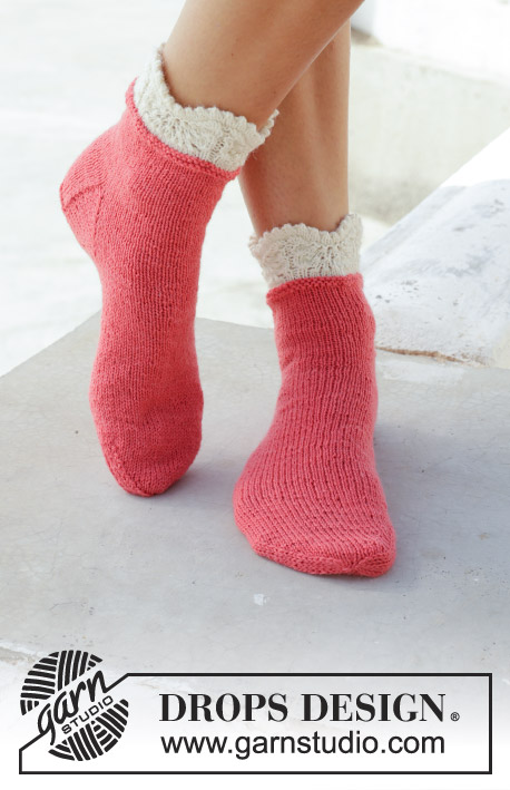 Frosted Top Socks Drops 189 27 Free Knitting Patterns By Drops