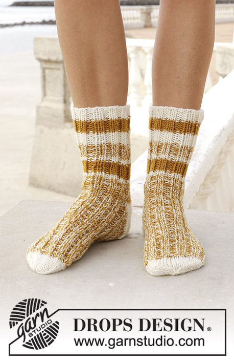 Sunny Feet / DROPS 189-32 - Knitted socks with stripes. Size 35-43. Piece is knitted top down with 2 strands in DROPS Fabel.