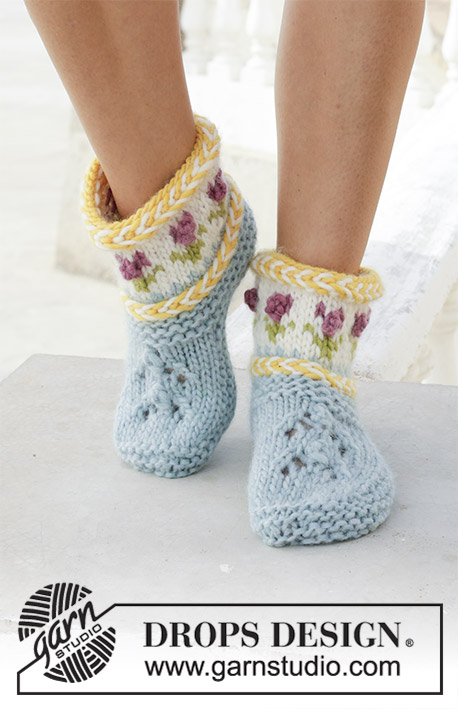 ... Spring Buds   DROPS 189-34 - Ponožky – papučky s litevským copánkem a  norským 4511219790