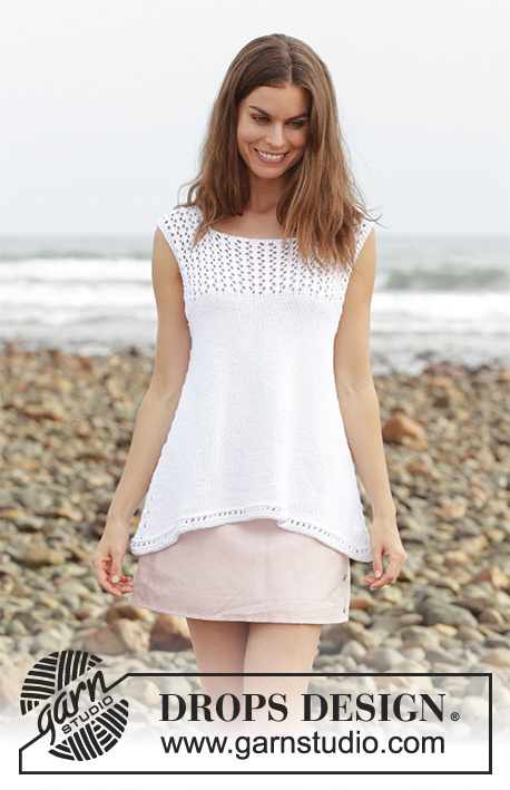 Loving Summer / DROPS 190-13 - Top with lace pattern, worked top down. Size: S - XXXL Piece is knitted in DROPS Cotton Light.