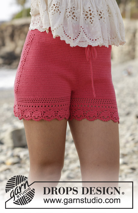 Beach Comfort / DROPS 190-25 - Crocheted shorts with lace pattern. Size: S - XXXL Piece is crocheted in DROPS Safran.