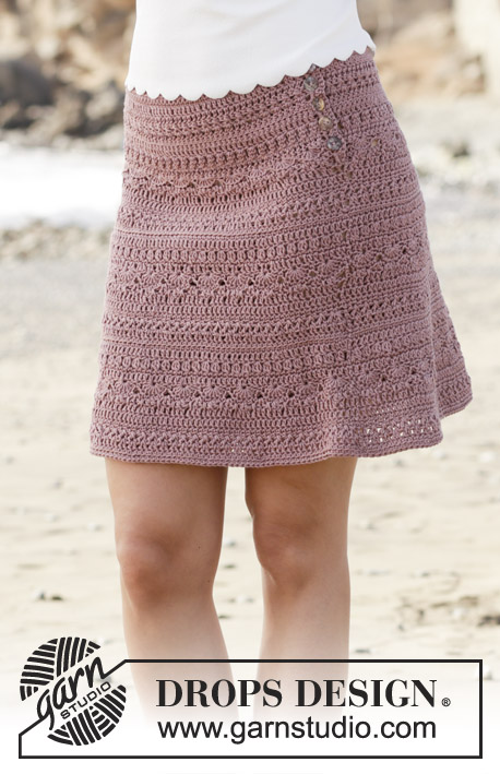 Rosalina / DROPS 190-28 - Skirt with fan pattern, crocheted top down. Size: S - XXXL Piece is crocheted in DROPS Muskat.